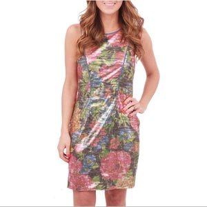 JESSICA SIMPSON Floral Metallic Sequin Dress